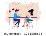 flat young man and woman on... | Shutterstock .eps vector #1281608635