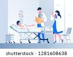 flat sick young person lies...   Shutterstock .eps vector #1281608638
