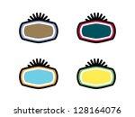four blank badges with burst on ...   Shutterstock .eps vector #128164076