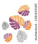 vector tropical pattern with... | Shutterstock .eps vector #1281653185