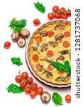 baked homemade quiche pie in...   Shutterstock . vector #1281737068