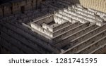labyrinth made of stone ... | Shutterstock . vector #1281741595