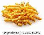 heap of crispy golden crinkle... | Shutterstock . vector #1281752242