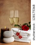 romantic spa decoration with... | Shutterstock . vector #128175368