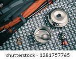 camping equipment top view.... | Shutterstock . vector #1281757765
