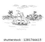 Sailboat At Sea. Palm Trees On...