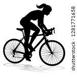 A Woman Bicycle Riding Bike...