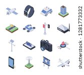 the pack of smart city icons... | Shutterstock .eps vector #1281773332