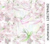 eustoma   flowers. watercolor....   Shutterstock . vector #1281789682