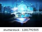 businesswoman connecting tech... | Shutterstock . vector #1281792505