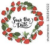 vector strawberry fruits. green ... | Shutterstock .eps vector #1281814222