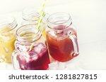 variety of tasty juices in... | Shutterstock . vector #1281827815