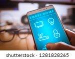 controlling smart home... | Shutterstock . vector #1281828265