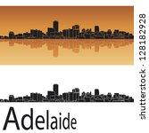 adelaide skyline in orange... | Shutterstock .eps vector #128182928