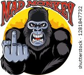 angry gorilla showing middle... | Shutterstock .eps vector #1281847732