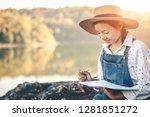 girl in winter sit write... | Shutterstock . vector #1281851272