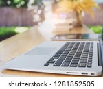 work desk in home selective... | Shutterstock . vector #1281852505