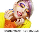 gorgeous young grunge model...   Shutterstock . vector #128187068