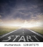 concept of start straight for... | Shutterstock . vector #128187275