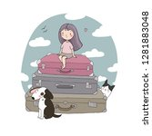 Happy Travel. Cute Cartoon Girl ...