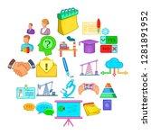 debate icons set. cartoon set... | Shutterstock .eps vector #1281891952
