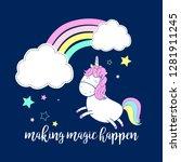 sweet unicorn and rainbow...   Shutterstock .eps vector #1281911245