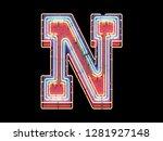 multi color light neon font. 3d ...   Shutterstock . vector #1281927148