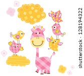 cute happy birds   giraffe set... | Shutterstock .eps vector #128194322