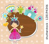 frame  little princess with... | Shutterstock .eps vector #128194346
