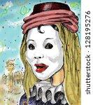 carnival mask in venice  hand... | Shutterstock . vector #128195276