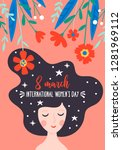 women's day cute greeting card... | Shutterstock .eps vector #1281969112