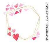 watercolor geometric gold frame ... | Shutterstock . vector #1281969658