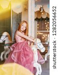 beautiful red haired girl with... | Shutterstock . vector #1282056652