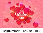 valentine's day background with ... | Shutterstock . vector #1282058188