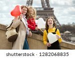 family trip. happy mom and... | Shutterstock . vector #1282068835