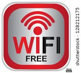 vector   wifi free sign with... | Shutterstock .eps vector #128212175