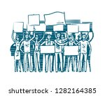 crowd of people protesters.... | Shutterstock .eps vector #1282164385