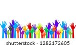 colorful raised hands group art ... | Shutterstock .eps vector #1282172605