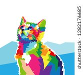 cute cat colorful vector... | Shutterstock .eps vector #1282176685