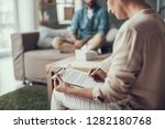 concentrated psychologist... | Shutterstock . vector #1282180768