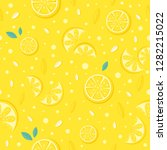 yellow lemon seamless pattern.... | Shutterstock .eps vector #1282215022