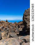 lava deposits on top and valley ... | Shutterstock . vector #1282232485