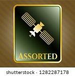 shiny emblem with satelite... | Shutterstock .eps vector #1282287178