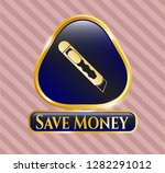 gold emblem with cutter icon...   Shutterstock .eps vector #1282291012