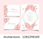 floral wedding invitation with... | Shutterstock .eps vector #1282298185
