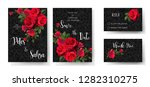 set of red rose beautiful cards ...