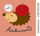 hello autumn  porcupine and red ...   Shutterstock .eps vector #1282330138