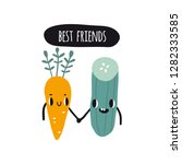 best friends. print with carrot ... | Shutterstock .eps vector #1282333585