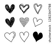 set vector hand drawn  hearts... | Shutterstock .eps vector #1282364788