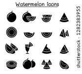 watermelon icon set | Shutterstock .eps vector #1282383955